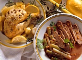 Lemon and garlic chicken; duck breast with spring onions