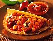 A Taco with Beans and Vegetables