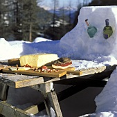 Picnic in the Winter with WIne in Snow