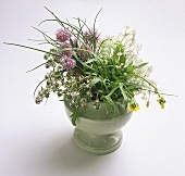 Flowering herb bouquet in a white vase