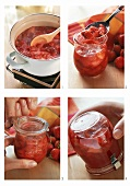 Making strawberry jam (boiling, pouring into jars etc)