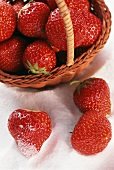 Strawberries in a Basket and in Sugar