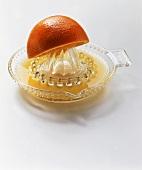 An Orange Half on a Glass Juicer