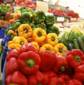 Peppers (red, green, yellow) at a market