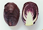 A whole and a half mini-red cabbage