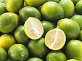Limequats (filling the picture) halved one on top