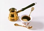 Mocha in bowl and in mocha jug