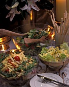 Festive Buffet with Pasta Salad and Grissini