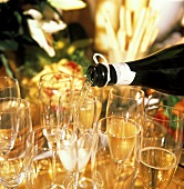 Filling Champagne Glasses with Champagne