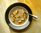Elegant mushroom soup with croutons in soup plate