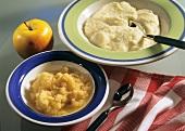 Fein geraspelete Apfelkost und Kartoffelbrei