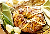 Baked Easter wreath with almonds an raisins