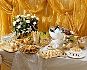 Elegant buffet with champagne, canapes etc