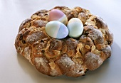 Easter bread wreath, three Easter eggs in the middle
