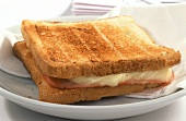 Croque Monsieur (cheese & ham on toast) on white plate