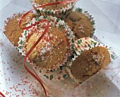 Carnival muffins sprinkled with red & white sugar topping