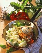 Pork medallions with toasted gorgonzola topping & kohlrabi