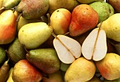 Various types of pear (filling the picture) & pear halves
