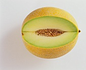 Galia melon, one slice cut out