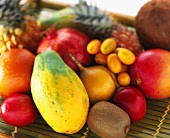 Various exotic fruits on tray