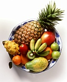 Various exotic fruits on a plate