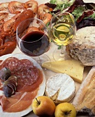 Still Life with Meat, Cheese, Seafood, Bread and Wine