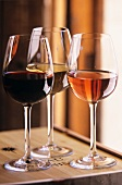 A Glass of Red Wine, White Wine and Rose Wine