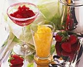 Mango sorbet and strawberry sorbet in glasses