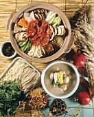 Cheongol (Fleisch-Gemüse-Teller mit Nudeln aus Korea)