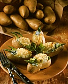 Stuffed potato gratin with asparagus and cheese
