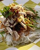 Glass noodles with chicken and vegetable strips