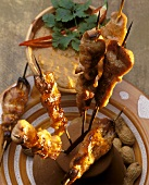 Satay with spicy peanut sauce and chili