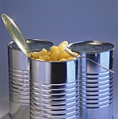 Apple pieces in an opened tin