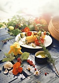 Grilled vegetables & vegetable kebab, décor: summer flowers