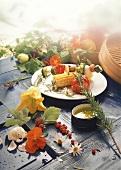 Grilled vegetables & vegetable kebab, décor: summer flowers