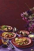 Menu with escalope, garlic shrimps, fennel and figs