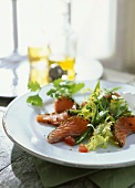 Lettuce with mangetouts and marinated salmon