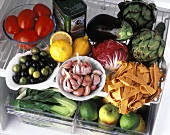 Pasta, Fruit and Vegetables in the Refrigerator