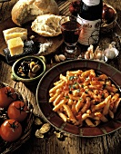 Penne with Tomato Sauce, Olives, Bread and Red Wine