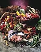 Stillleben mit Fisch, Meeresfrüchten, Obst, Gemüse, Wild