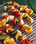 Grilled meat and vegetables kebabs on a metal rack