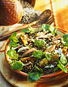 Lentil salad with duck confit, mushrooms and watercress
