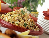 Cabbage salad with carrots, bean sprouts & raisins