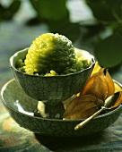 Green tea sorbet in small bowl