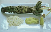 Wasabi (Japanese green horseradish), powder and paste