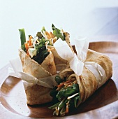 Vegetable rolls (Asian flat bread with vegetable filling)