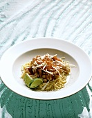 Salmon trout and caviare on line noodles