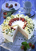Strawberry cream gateau, pieces cut