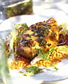 Braised herbed chicken breast with red lentils