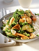 Vegetables with pork and lemon sauce on rice